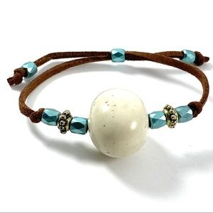 Jewelry - Natural stone suede cord adjustable bracelet (L)